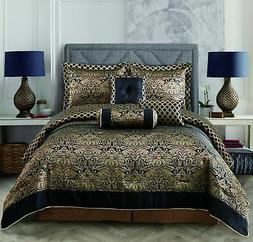 11 Piece Over Size Jacquard Comforter Sheet set Black Gold Q