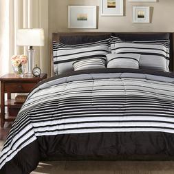 10 Piece Comforter Set Microfiber Striped Pattern Durable &