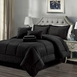 10 Piece Reversible Comforter Set Black Soft Warn Microfiber
