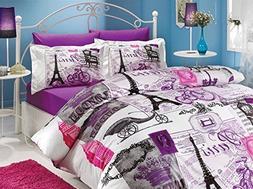 100 Cotton 5pcs Paris Purple Full Double Size Comforter Set