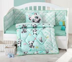 100% Cotton Panda Bedding Quilt/Comforter Set for Cribs Baby