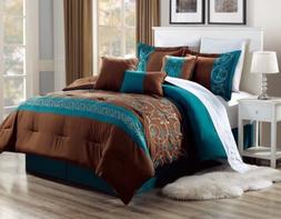 11 Piece Brown Teal Comforter Set Queen Or King Size AT Line