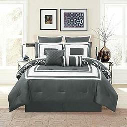 12 Comforter Sets Piece Bernard Gray With Sheets Queen Home