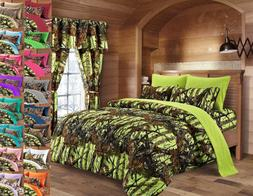 12 pc Lime Woods Camo King Size Comforter, sheets, pillowcas