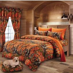 12 pc Orange Camo Queen size Comforter, sheets, pillowcases