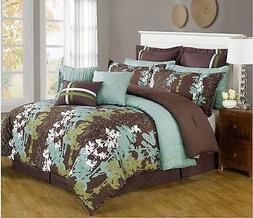12 Pc Teal, Green, Brown & White Floral Print Comforter Set