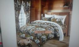 12 PC  WHITE WOODS  COMFORTER,SHEET AND CURTAIN  SET.   ALL