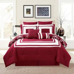 KingLinen 12 Piece Bernard Burgundy Comforter Set with Sheet