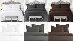 2/3 Piece Solid Duvet Cover Comforter Bed Bedding Coverlet S