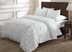 2-Pcs Ella Ruffle Waterfall Comforter Set Twin White