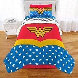 TN 2 Piece Kids Girls Blue Red Wonder Woman Comforter Twin/F