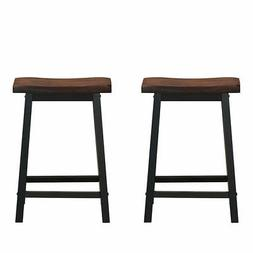 "2-Set 24"" Bar Stools Home Kitchen Club Saddle Seat Pub Chair"