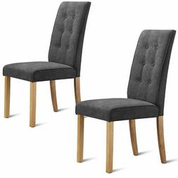 2-Set Home Kitchen Dining Chairs Wood Legs Comfort Fabric Bu