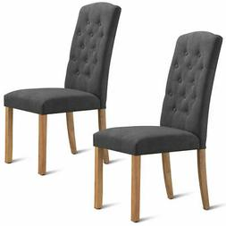 2-Set Home Kitchen Dining Chairs Wooden Legs Comfort Fabric