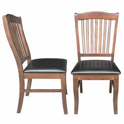 2-Set PU Leather Dining Chair Comfort Upholstered Seat Home