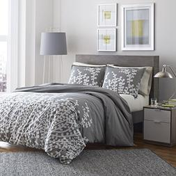City Scene 215672 Branches Gray Cotton Comforter Set, Full/Q