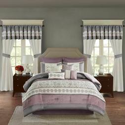 24-Pc Bedroom Set Comforter Pillow Sham Bed Skirt Sheet Curt