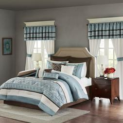 24pc Blue & Brown Embroidered Comforter Set, Sheets, Pillows