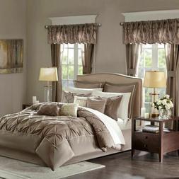24pc Mushroom Brown Tufted Comforter Set, Sheets, Pillows, C