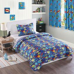 2pcs Kids Quilt Bedspread Comforter Set Throw Blanket for Bo