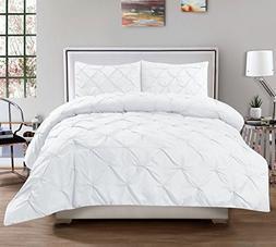 3 Piece Luxurious Pinch Pleat Decorative Pintuck Comforter S