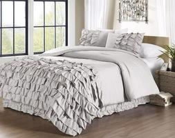 3-Pc Ella Ruffle Waterfall Comforter Set Queen Gray