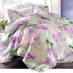 3 PC FULL/QUEEN KING Purple Floral COMFORTER Reversible QUIL