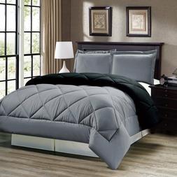 3 pcs Comforter Set Down Alternative Grey Black Reversible T