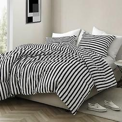 3 Piece Black White Vertical Stripe Comforter King Set Pin S