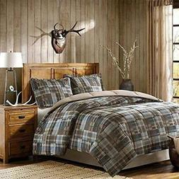 3 Piece Brown Blue Madras Plaid Comforter King Set Glen Chec