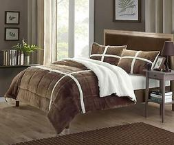 Chic Home 3 Piece Chloe Sherpa Lined Plush Micro Suede Comfo