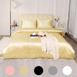 3 Piece Home Bedding Satin Silk Duvet Cover Set for Comforte