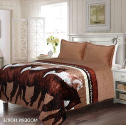 3 Piece Modern Horses Quilt Rustic Western Star Bedspread Co