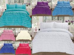 3 Piece Pleated Ruffled Soft Comforter Set w/ Pillow Shams A