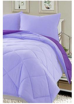 3 Piece Purple Lilac King Size Comforter Set Reversible Fits