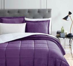 Chezmoi Collection 3-Piece Purple Micro-mink Sherpa Down Alt