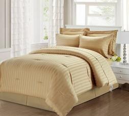 3 Piece Queen Damask Stripe 500 Thread Count Cotton Comforte