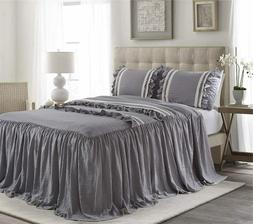 HIG 3 Piece Ruffle Skirt Bedspread Set King-Gray Color 30 in