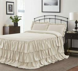 HIG 3 Piece Ruffle Skirt Bedspread Set Queen-Ivory Color 30