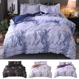 3 Pieces Marble Duvet Quilt Comforter Cover Set Zipper Closu