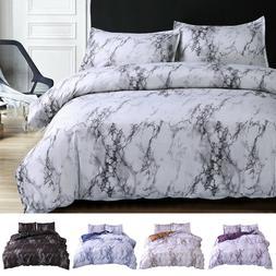 3 Pieces Set Comforter / Duvet Cover Quilt Marble Printed Mi