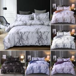 3 Pieces Set Marble Printed Comforter / Duvet Cover Queen Ki