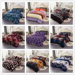3 Pieces Ultra-Soft Borrego Fleece Comforter Set Sherpa Comf