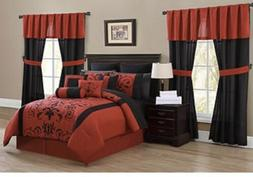 30 piece queen size alcove comforter set, red