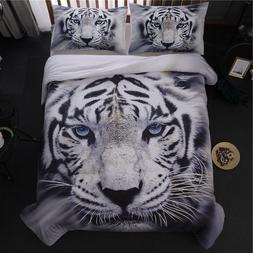 3D Animal White Tiger Duvet Cover Sets Comforter Cover Quilt