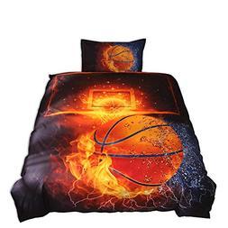 Lldaily 3D Sports Basketball Bedding Set Teen Boys,Duvet Cov