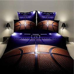 Lldaily 3D Sports Basketball curt Bedding Set for Teen Boys,