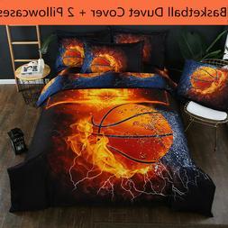 3D Basketball Fire Bedding Set Sport Duvet Cover Set Comfort