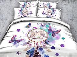Newrara 3d Digital Bedding 3D Dream Catcher and Butterfly Pr