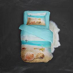 AMOR & AMORE 3D Blue Sea Beach Theme Duvet covers Kids Beddi